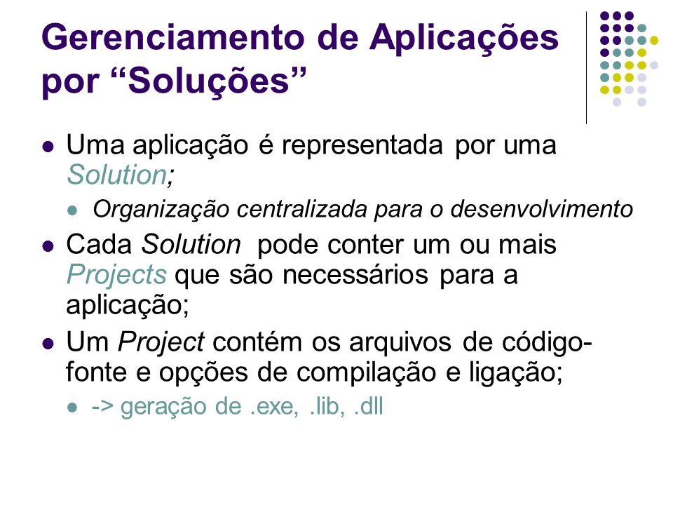 Gerenciamento de Aplicações por Soluções Uma aplicação é representada por uma Solution; Organização centralizada para o desenvolvimento Cada Solution