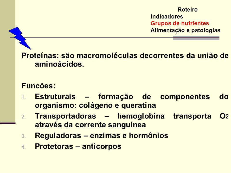 Proteínas: são macromoléculas decorrentes da união de aminoácidos. Funcões: 1. Estruturais – formação de componentes do organismo: colágeno e queratin