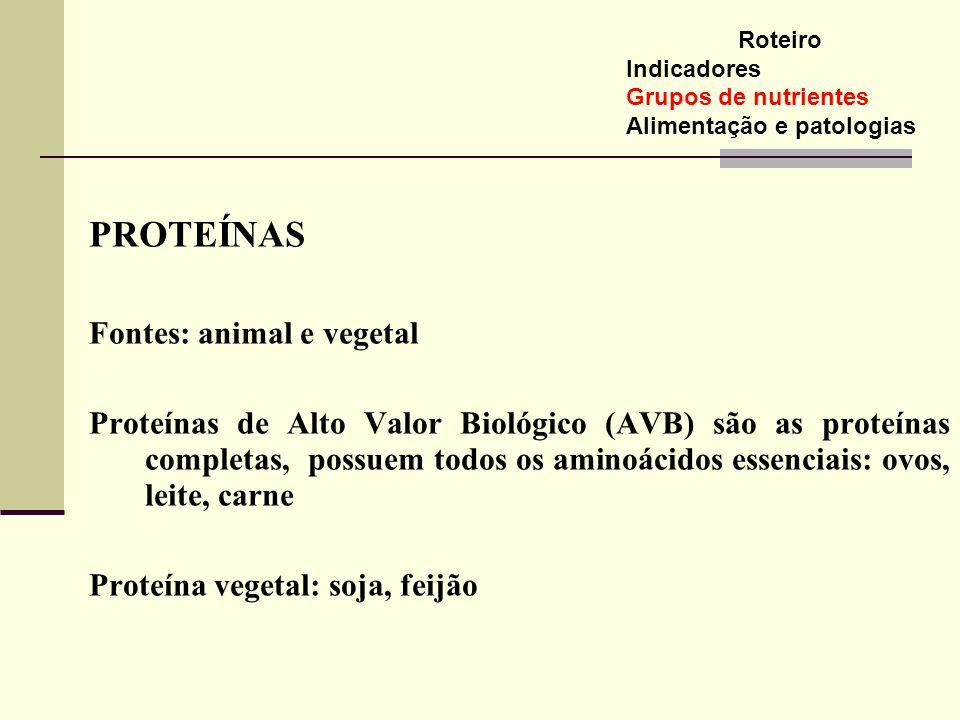 PROTEÍNAS Fontes: animal e vegetal Proteínas de Alto Valor Biológico (AVB) são as proteínas completas, possuem todos os aminoácidos essenciais: ovos,