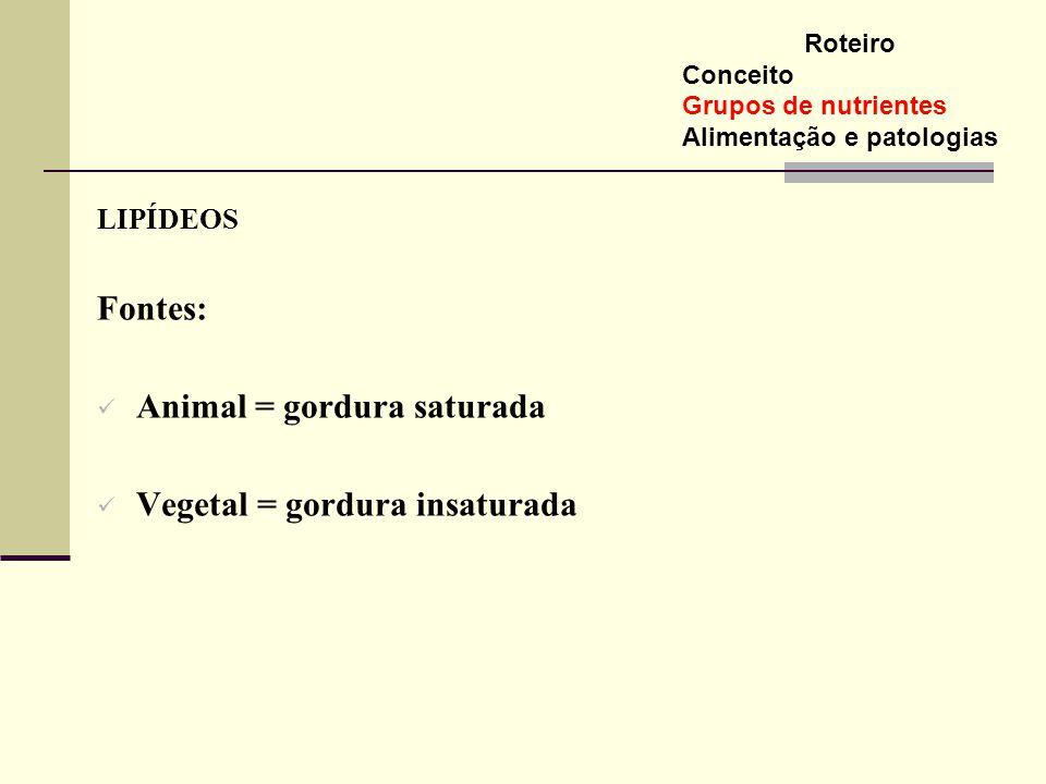 LIPÍDEOS Fontes: Animal = gordura saturada Vegetal = gordura insaturada Roteiro Conceito Grupos de nutrientes Alimentação e patologias