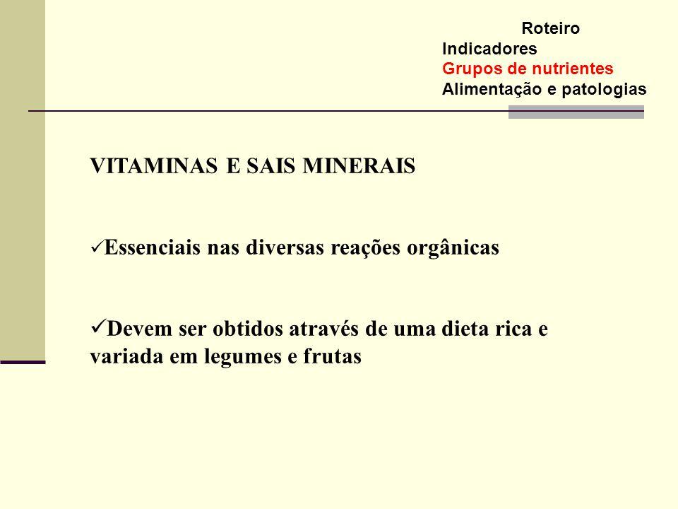 Roteiro Indicadores Grupos de nutrientes Alimentação e patologias VITAMINAS E SAIS MINERAIS Essenciais nas diversas reações orgânicas Devem ser obtido