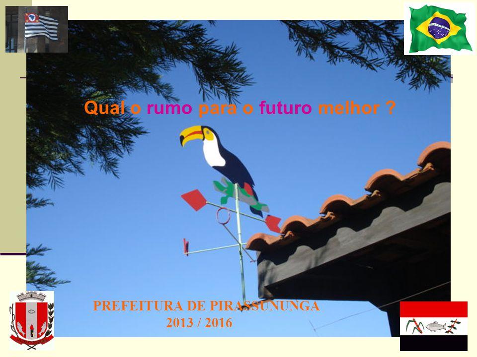 PREFEITURA DE PIRASSUNUNGA 2013 / 2016 Qual o rumo para o futuro melhor ?