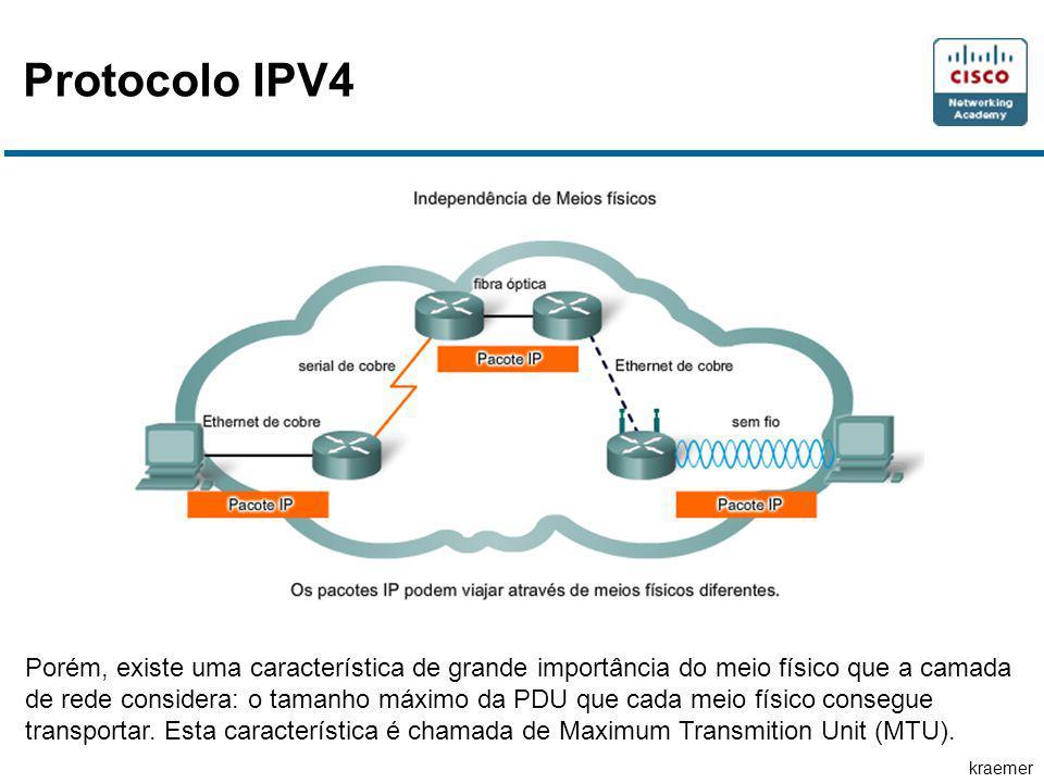 kraemer Protocolo IPV4 Porém, existe uma característica de grande importância do meio físico que a camada de rede considera: o tamanho máximo da PDU que cada meio físico consegue transportar.
