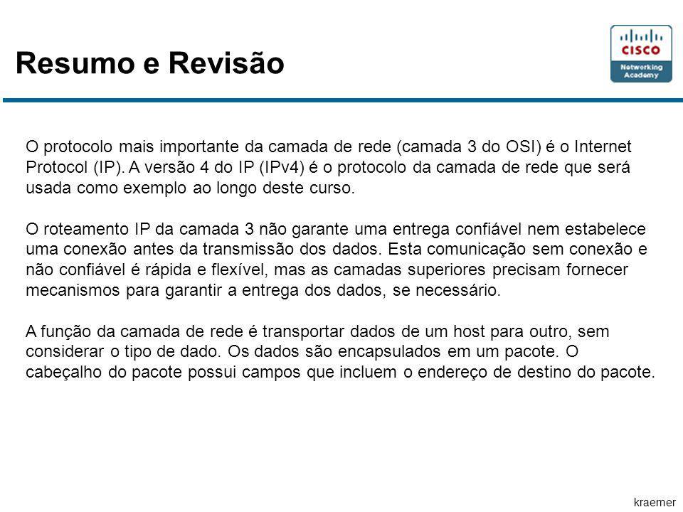 kraemer Resumo e Revisão O protocolo mais importante da camada de rede (camada 3 do OSI) é o Internet Protocol (IP). A versão 4 do IP (IPv4) é o proto