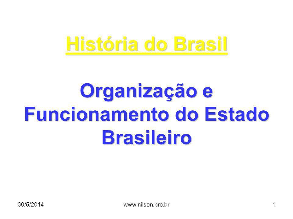 História do Brasil Organização e Funcionamento do Estado Brasileiro 30/5/20141www.nilson.pro.br