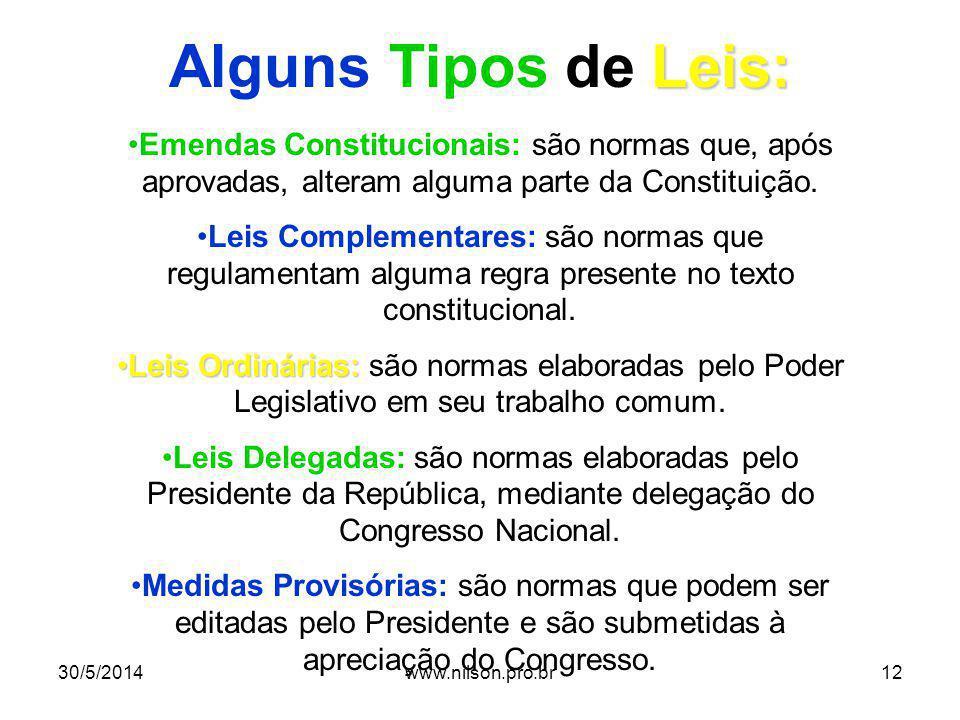 Leis: Alguns Tipos de Leis: Emendas Constitucionais: são normas que, após aprovadas, alteram alguma parte da Constituição. Leis Complementares: são no