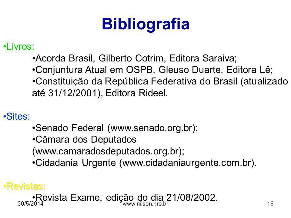 Bibliografia Livros: Acorda Brasil, Gilberto Cotrim, Editora Saraiva; Conjuntura Atual em OSPB, Gleuso Duarte, Editora Lê; Constituição da República F