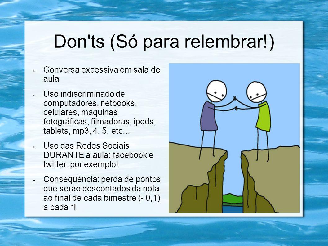 Don'ts (Só para relembrar!) Conversa excessiva em sala de aula Uso indiscriminado de computadores, netbooks, celulares, máquinas fotográficas, filmado