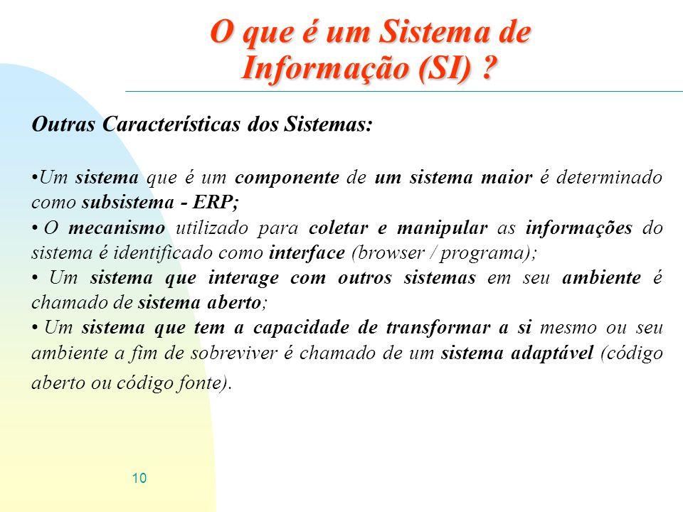 10 O que é um Sistema de Informação (SI) ? Outras Características dos Sistemas: Um sistema que é um componente de um sistema maior é determinado como