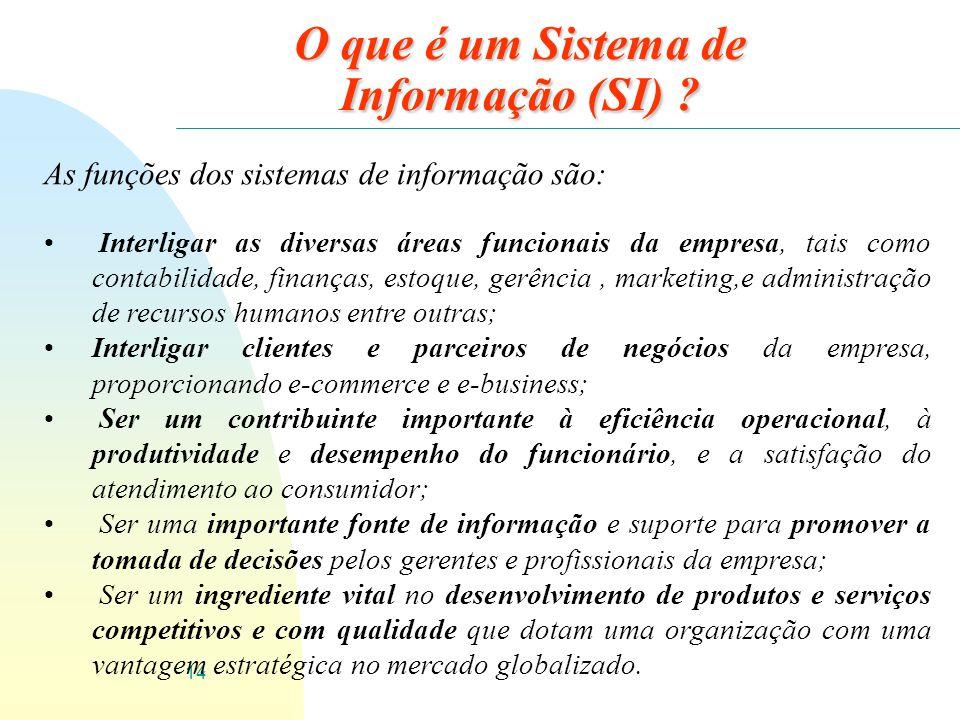 14 O que é um Sistema de Informação (SI) ? As funções dos sistemas de informação são: Interligar as diversas áreas funcionais da empresa, tais como co