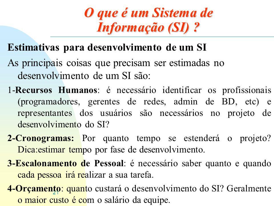 21 O que é um Sistema de Informação (SI) ? Estimativas para desenvolvimento de um SI As principais coisas que precisam ser estimadas no desenvolviment