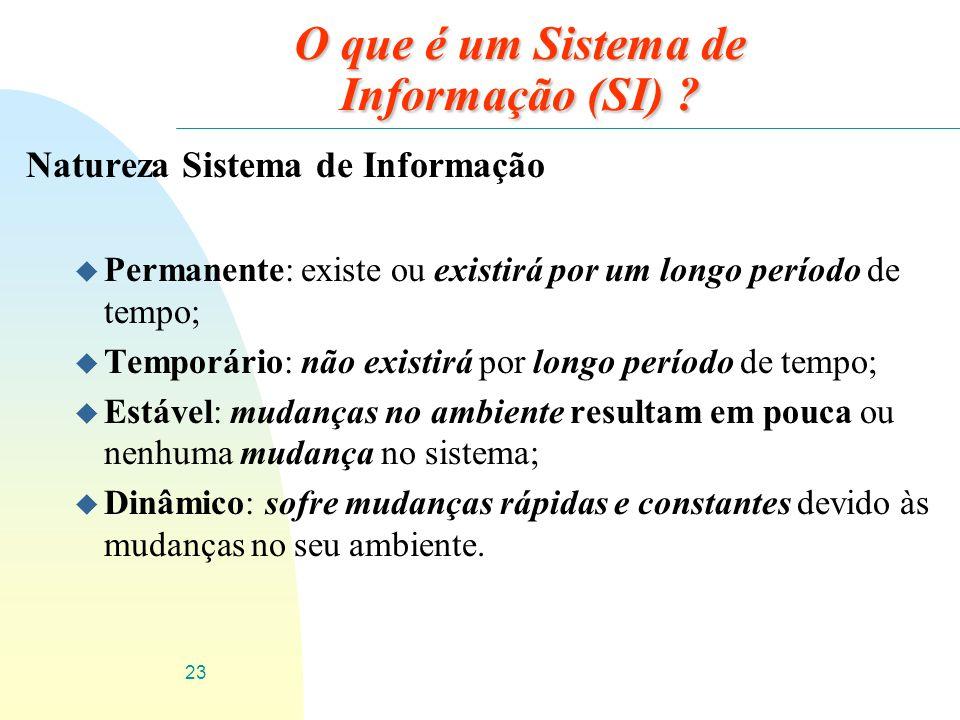 23 O que é um Sistema de Informação (SI) ? Natureza Sistema de Informação u Permanente: existe ou existirá por um longo período de tempo; u Temporário