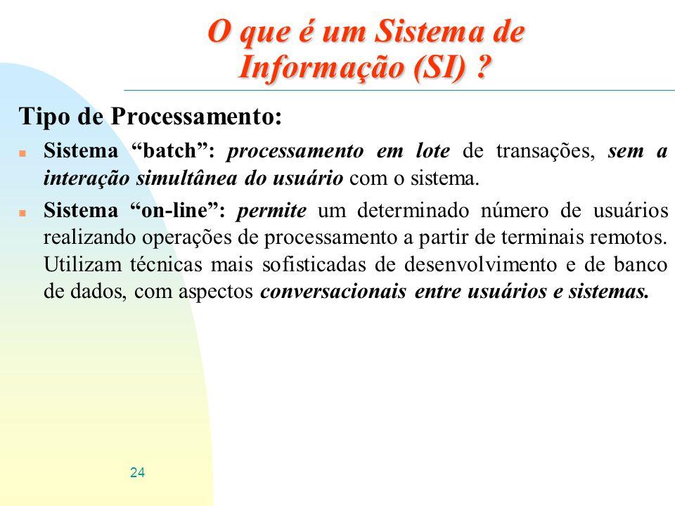 24 O que é um Sistema de Informação (SI) ? Tipo de Processamento: n Sistema batch: processamento em lote de transações, sem a interação simultânea do
