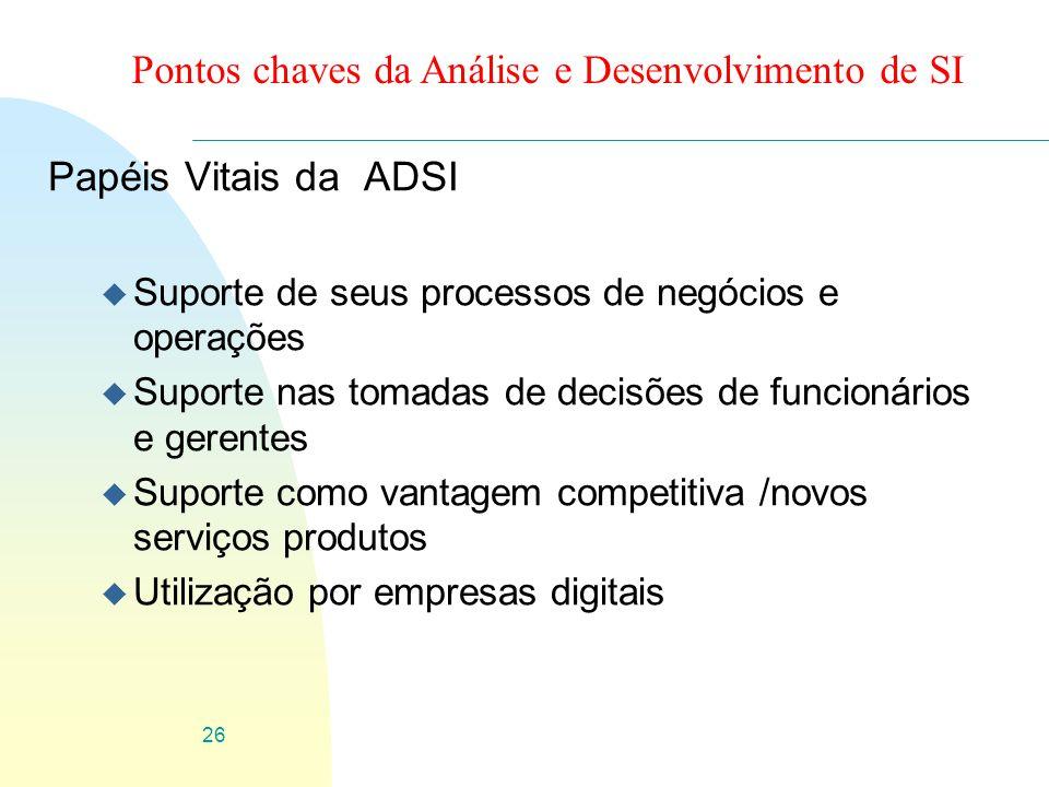 26 Pontos chaves da Análise e Desenvolvimento de SI Papéis Vitais da ADSI u Suporte de seus processos de negócios e operações u Suporte nas tomadas de