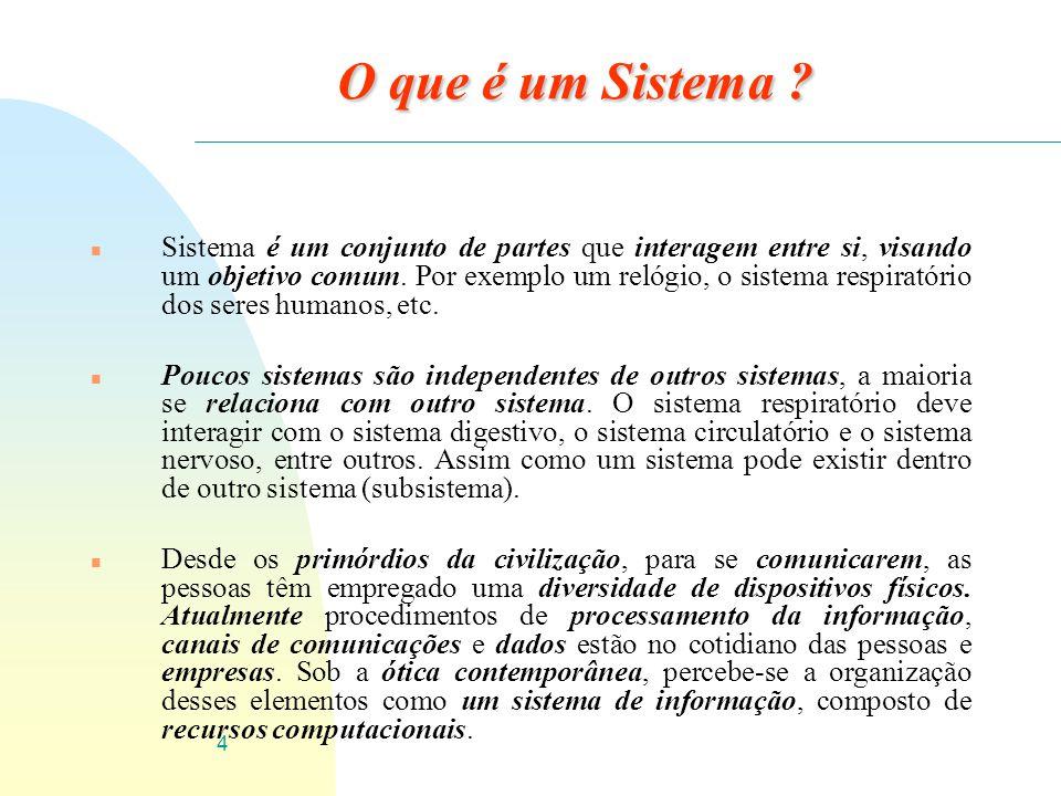 4 O que é um Sistema ? n Sistema é um conjunto de partes que interagem entre si, visando um objetivo comum. Por exemplo um relógio, o sistema respirat