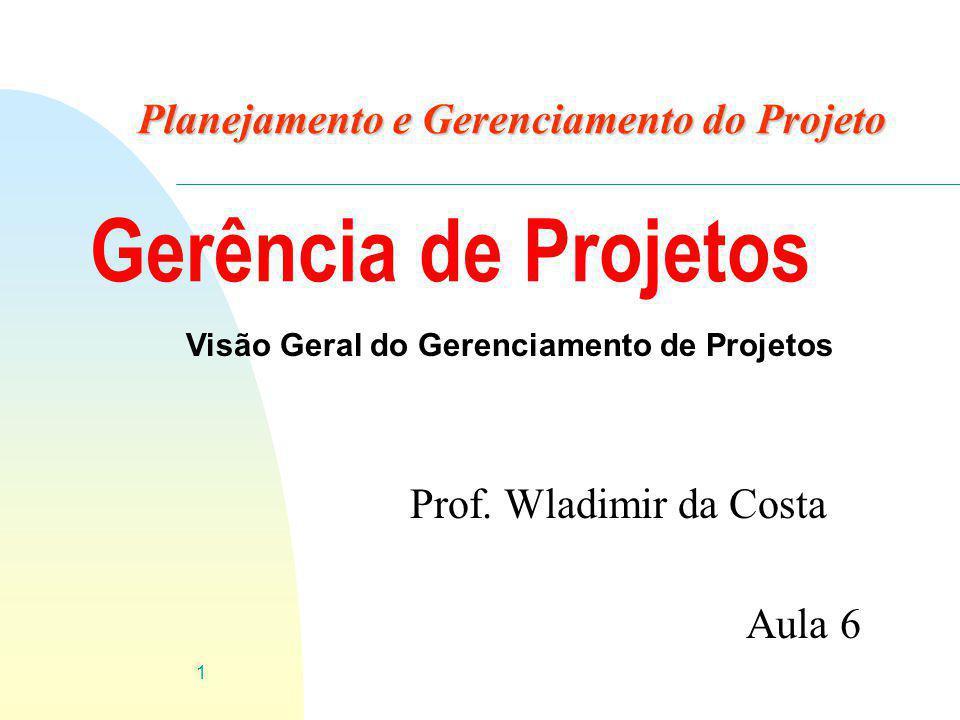 1 Planejamento e Gerenciamento do Projeto Prof. Wladimir da Costa Aula 6 Gerência de Projetos Visão Geral do Gerenciamento de Projetos