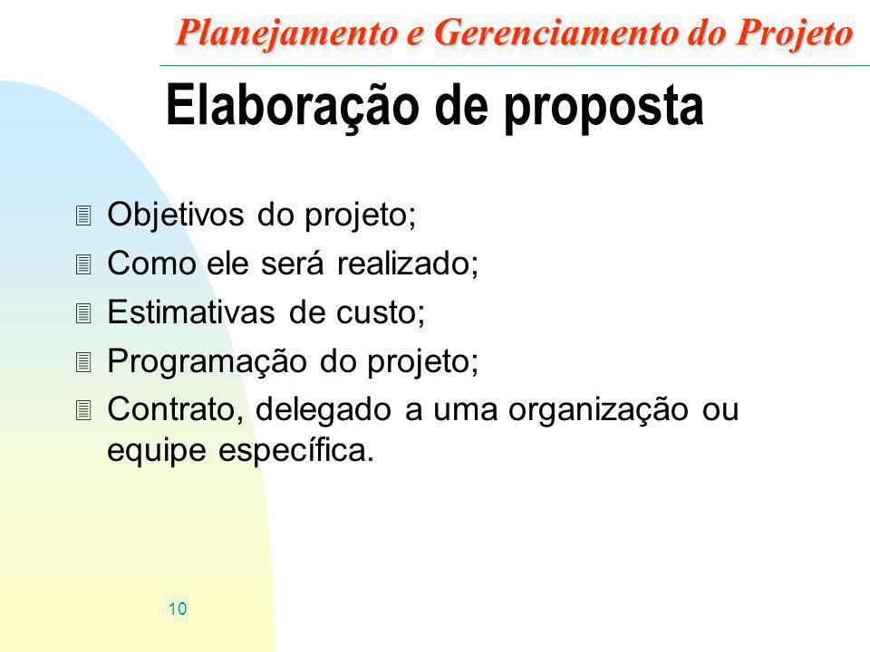 10 Planejamento e Gerenciamento do Projeto Elaboração de proposta 3 Objetivos do projeto; 3 Como ele será realizado; 3 Estimativas de custo; 3 Program