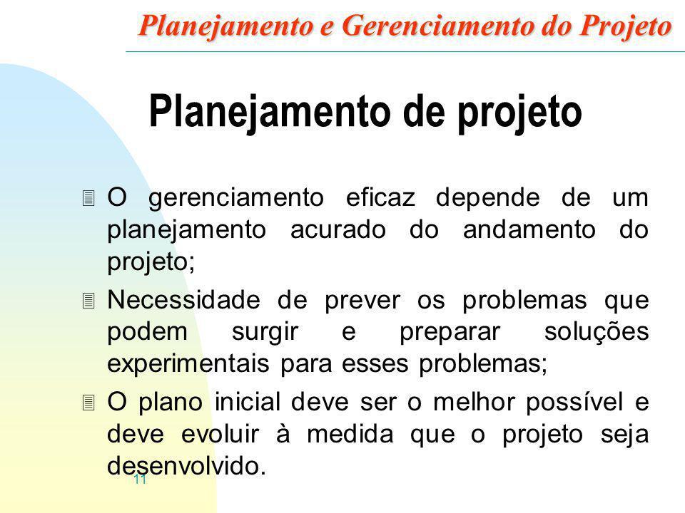 11 Planejamento e Gerenciamento do Projeto Planejamento de projeto 3 O gerenciamento eficaz depende de um planejamento acurado do andamento do projeto