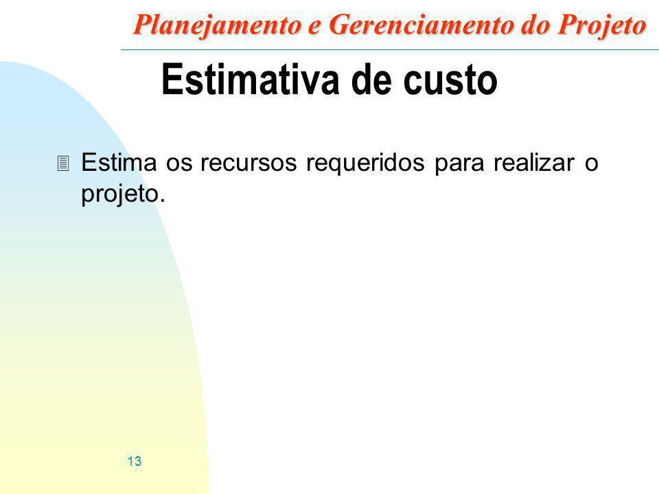 13 Planejamento e Gerenciamento do Projeto Estimativa de custo 3 Estima os recursos requeridos para realizar o projeto.