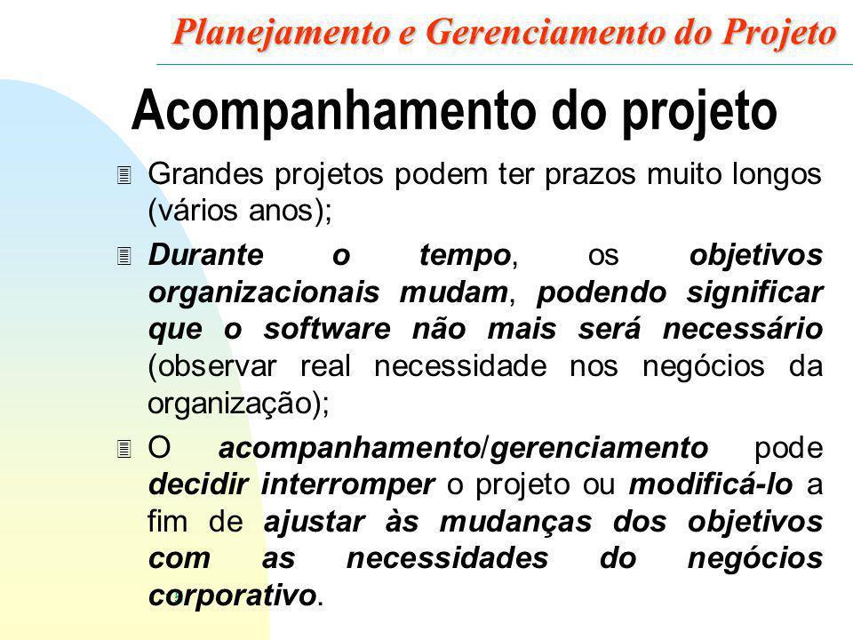 15 Planejamento e Gerenciamento do Projeto Acompanhamento do projeto 3 Grandes projetos podem ter prazos muito longos (vários anos); 3 Durante o tempo