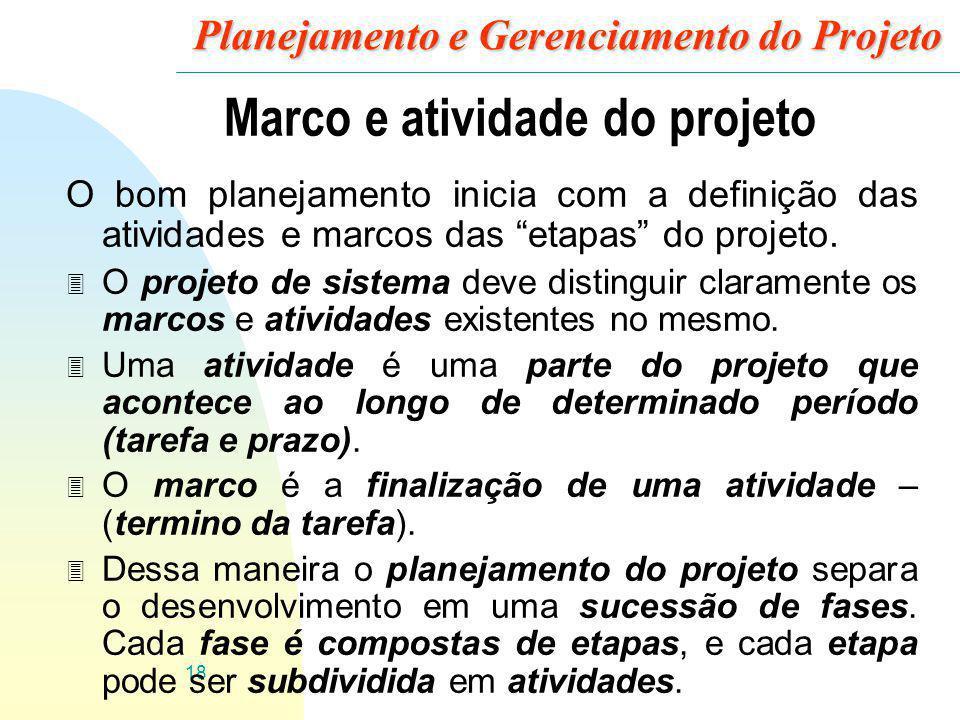 18 Planejamento e Gerenciamento do Projeto Marco e atividade do projeto O bom planejamento inicia com a definição das atividades e marcos das etapas d