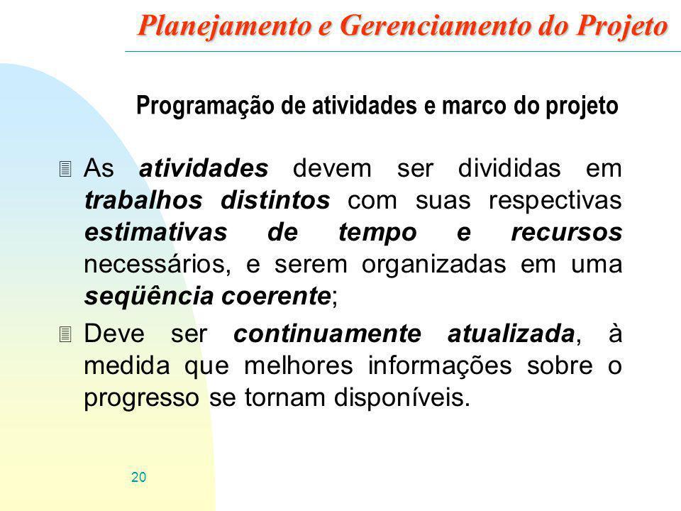 20 Planejamento e Gerenciamento do Projeto Programação de atividades e marco do projeto 3 As atividades devem ser divididas em trabalhos distintos com