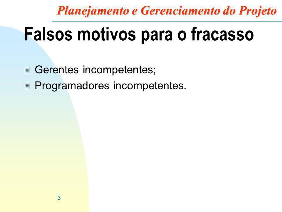 3 Planejamento e Gerenciamento do Projeto Falsos motivos para o fracasso 3 Gerentes incompetentes; 3 Programadores incompetentes.