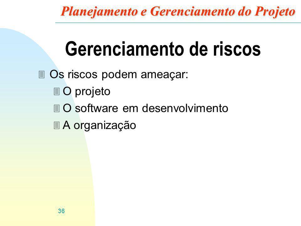 36 Planejamento e Gerenciamento do Projeto Gerenciamento de riscos 3 Os riscos podem ameaçar: 3 O projeto 3 O software em desenvolvimento 3 A organiza