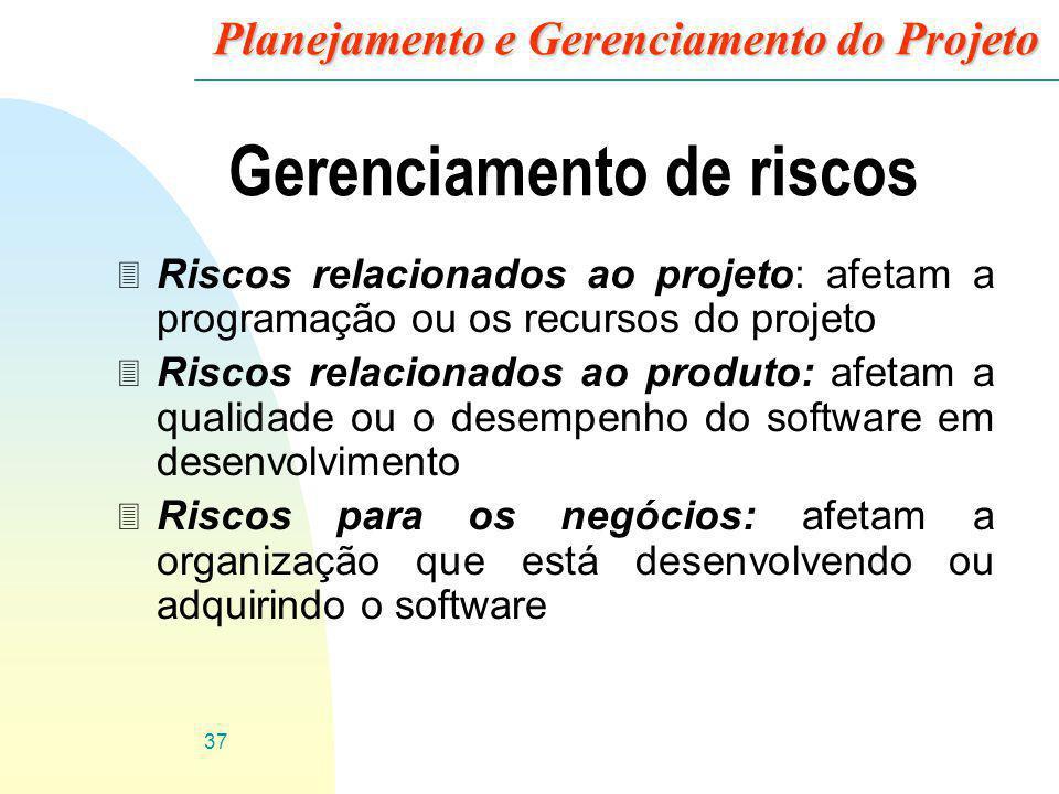 37 Planejamento e Gerenciamento do Projeto Gerenciamento de riscos 3 Riscos relacionados ao projeto: afetam a programação ou os recursos do projeto 3