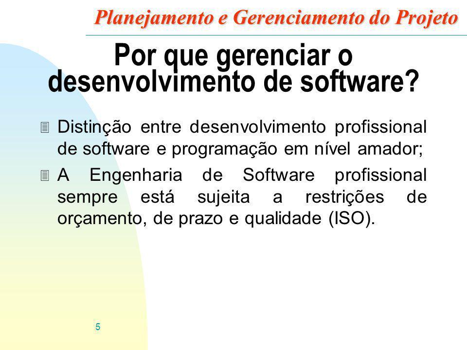 5 Planejamento e Gerenciamento do Projeto Por que gerenciar o desenvolvimento de software? 3 Distinção entre desenvolvimento profissional de software
