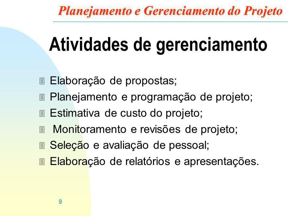10 Planejamento e Gerenciamento do Projeto Elaboração de proposta 3 Objetivos do projeto; 3 Como ele será realizado; 3 Estimativas de custo; 3 Programação do projeto; 3 Contrato, delegado a uma organização ou equipe específica.