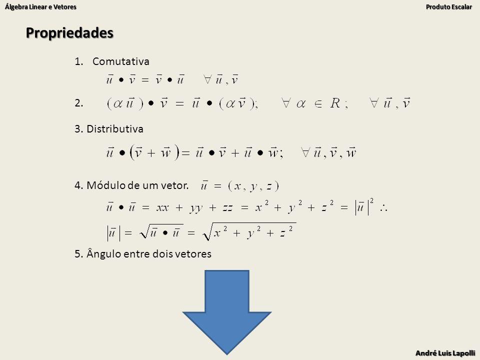 André Luis Lapolli Álgebra Linear e Vetores Produto Escalar André Luis Lapolli Álgebra Linear e Vetores Produto Escalar 5. Ângulo entre dois vetores 1