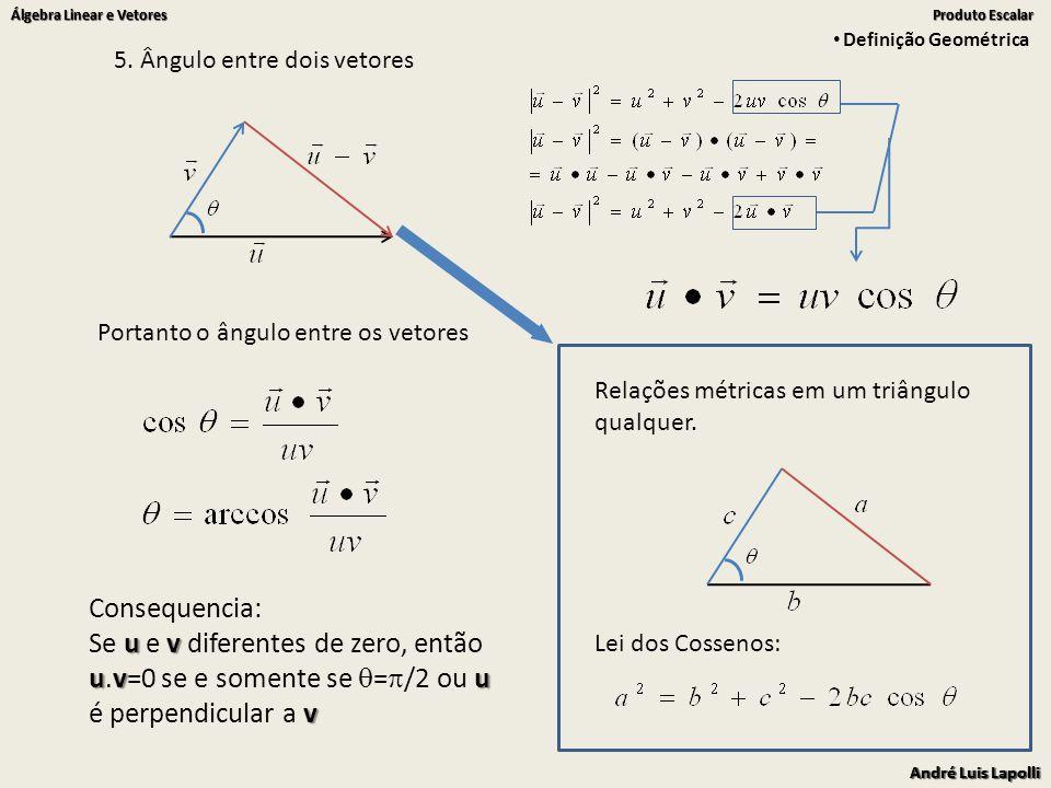 André Luis Lapolli Álgebra Linear e Vetores Produto Escalar André Luis Lapolli Álgebra Linear e Vetores Produto Escalar 5.