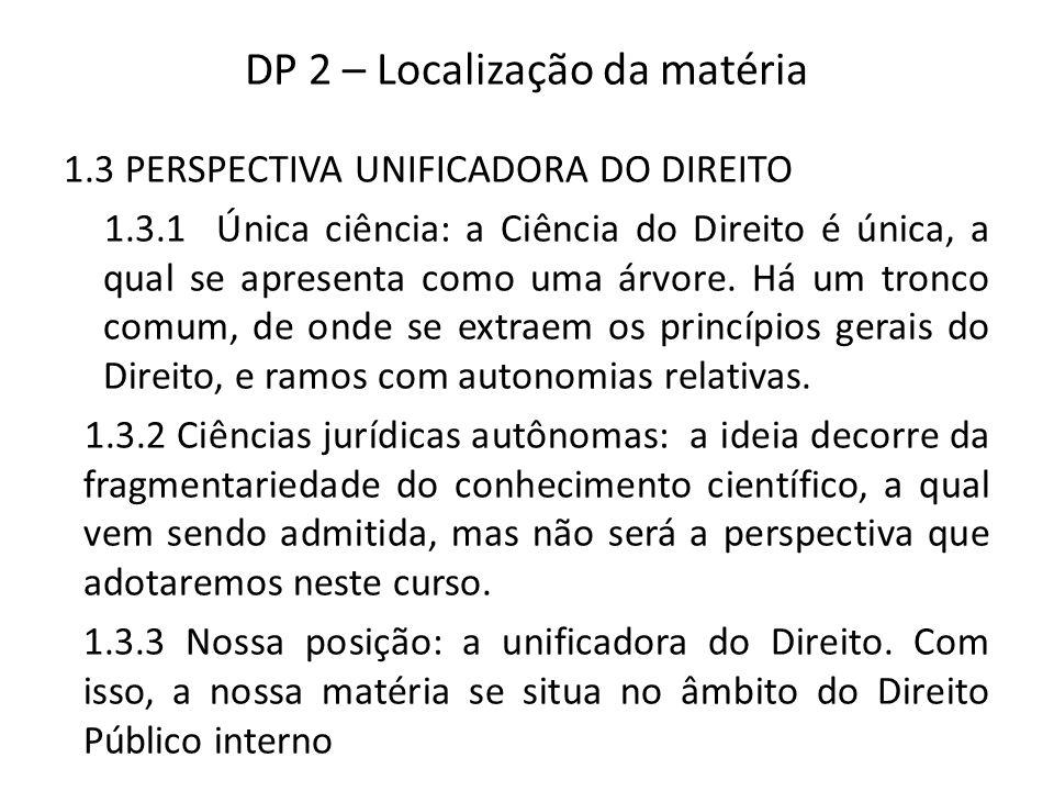 DP 2 – Localização da matéria 1.3 PERSPECTIVA UNIFICADORA DO DIREITO 1.3.1 Única ciência: a Ciência do Direito é única, a qual se apresenta como uma árvore.
