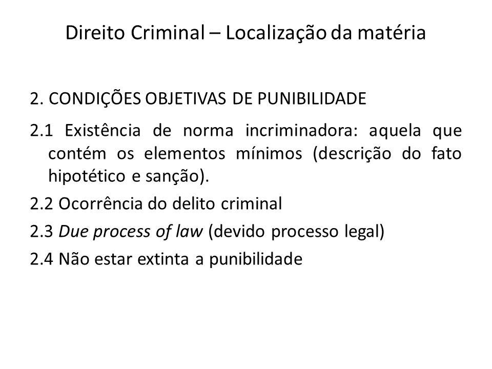 Direito Criminal – Localização da matéria 2.
