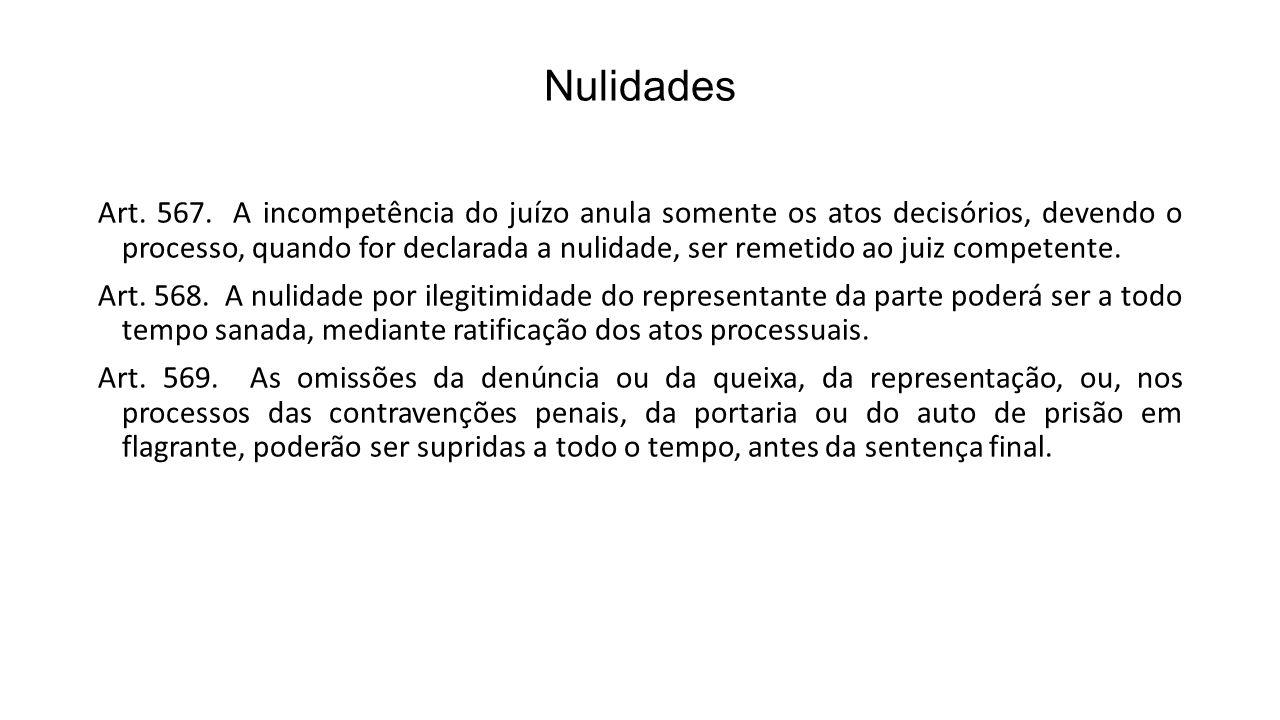 Nulidades Art. 567. A incompetência do juízo anula somente os atos decisórios, devendo o processo, quando for declarada a nulidade, ser remetido ao ju