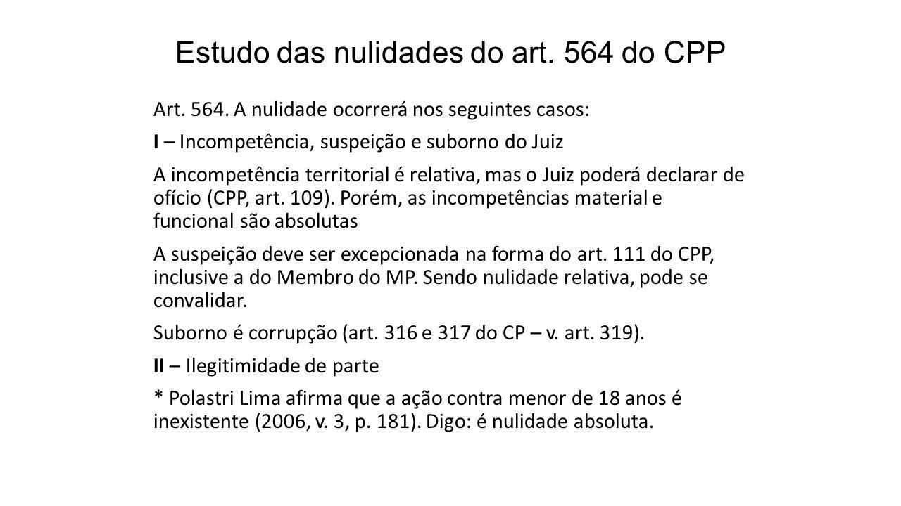 Estudo das nulidades do art.564 do CPP Art. 564.