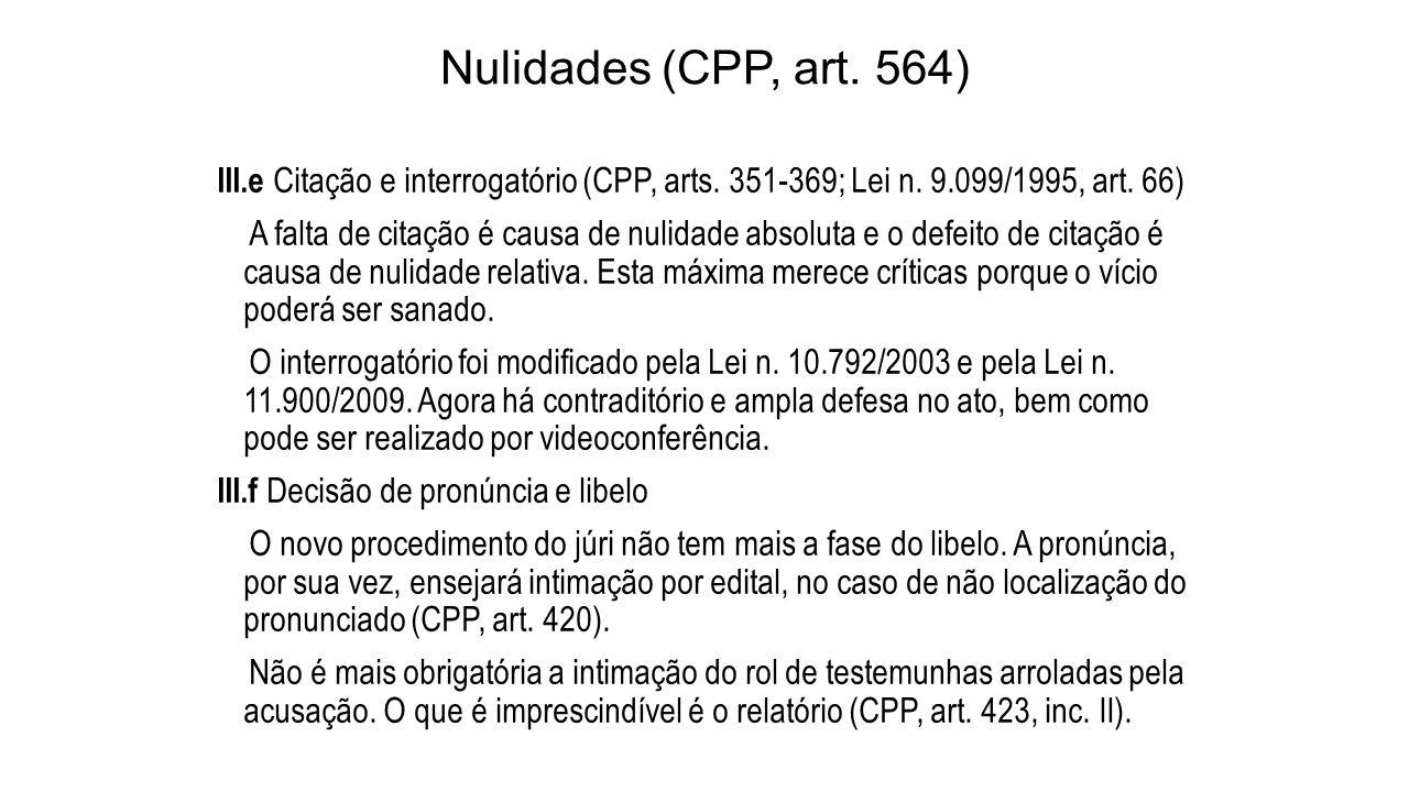 Nulidades (CPP, art. 564) III.e Citação e interrogatório (CPP, arts. 351-369; Lei n. 9.099/1995, art. 66) A falta de citação é causa de nulidade absol