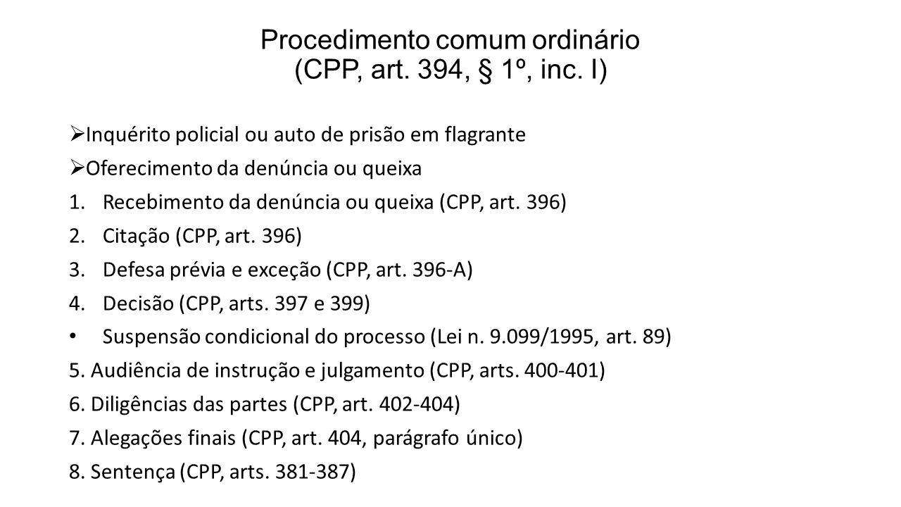 Procedimento comum ordinário (CPP, art. 394, § 1º, inc. I) Inquérito policial ou auto de prisão em flagrante Oferecimento da denúncia ou queixa 1.Rece