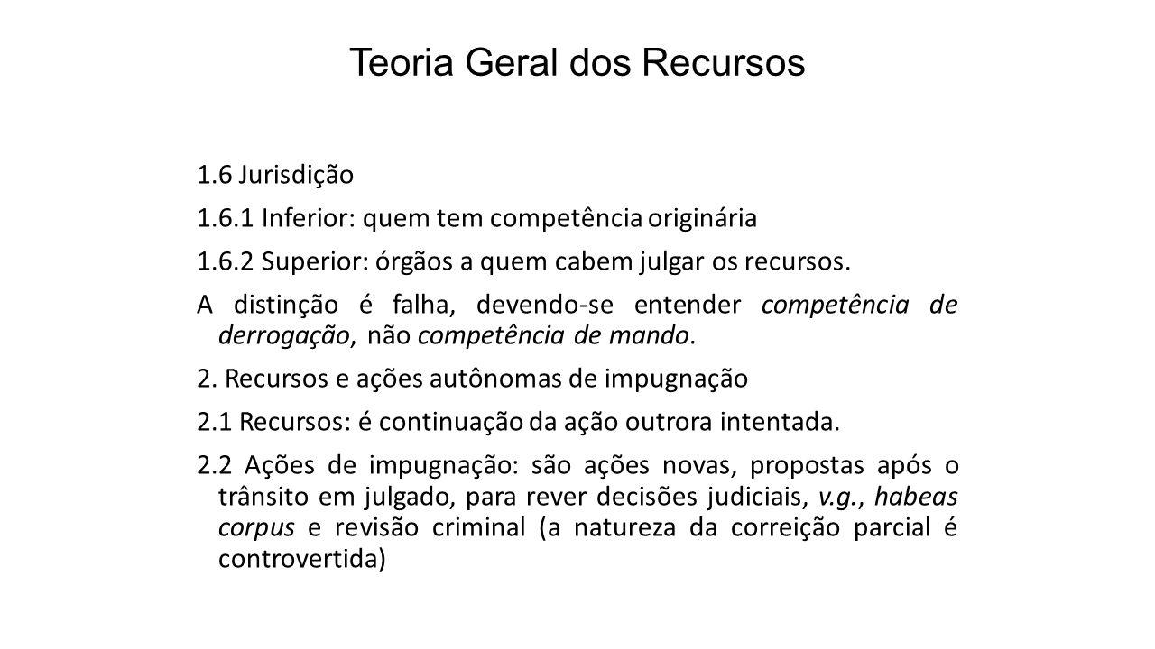 Teoria Geral dos Recursos 1.6 Jurisdição 1.6.1 Inferior: quem tem competência originária 1.6.2 Superior: órgãos a quem cabem julgar os recursos. A dis