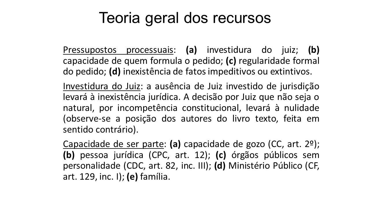 Teoria geral dos recursos Pressupostos processuais: (a) investidura do juiz; (b) capacidade de quem formula o pedido; (c) regularidade formal do pedido; (d) inexistência de fatos impeditivos ou extintivos.