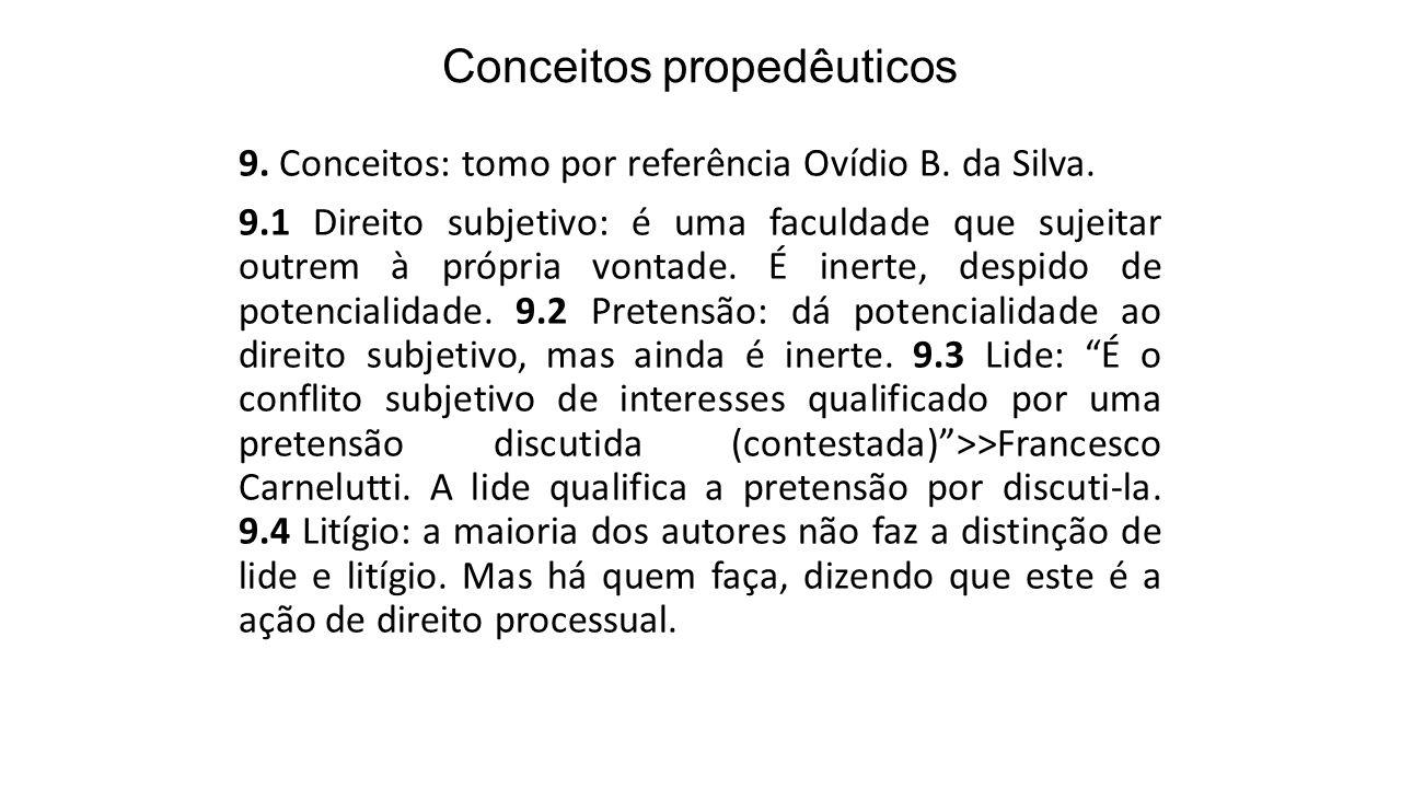 Conceitos propedêuticos 9. Conceitos: tomo por referência Ovídio B. da Silva. 9.1 Direito subjetivo: é uma faculdade que sujeitar outrem à própria von