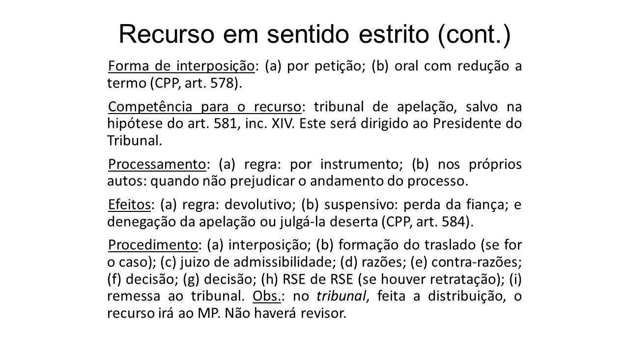 Recurso em sentido estrito (cont.) Forma de interposição: (a) por petição; (b) oral com redução a termo (CPP, art. 578). Competência para o recurso: t