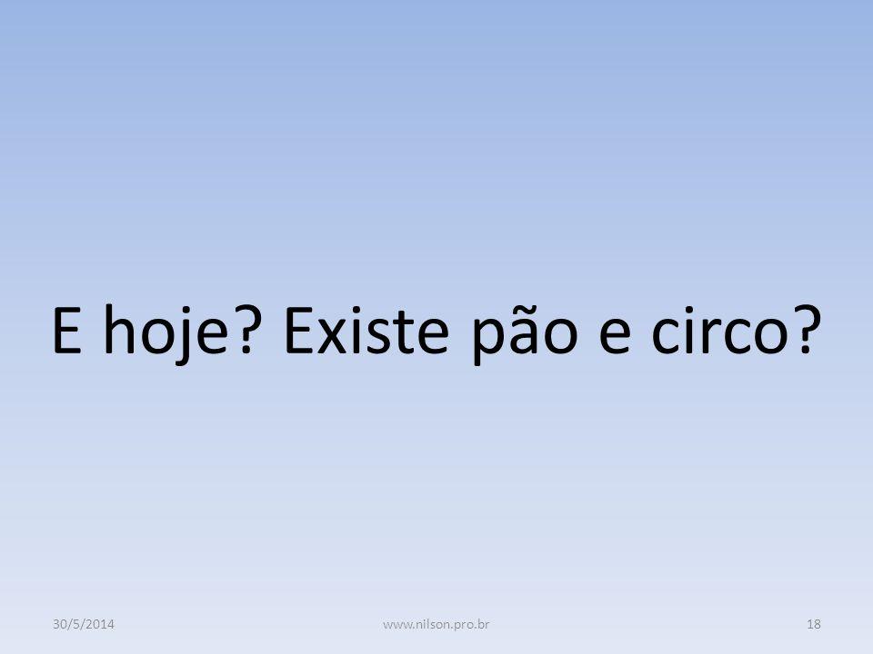 E hoje? Existe pão e circo? 30/5/201418www.nilson.pro.br