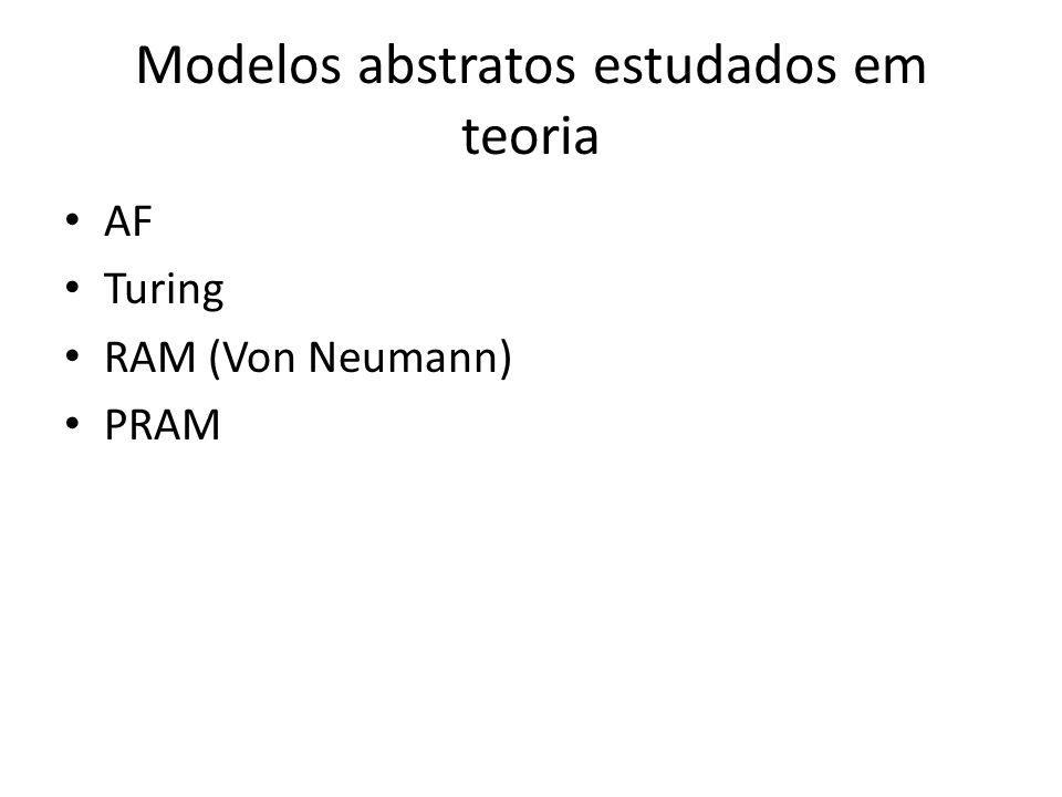 Modelos abstratos estudados em teoria AF Turing RAM (Von Neumann) PRAM