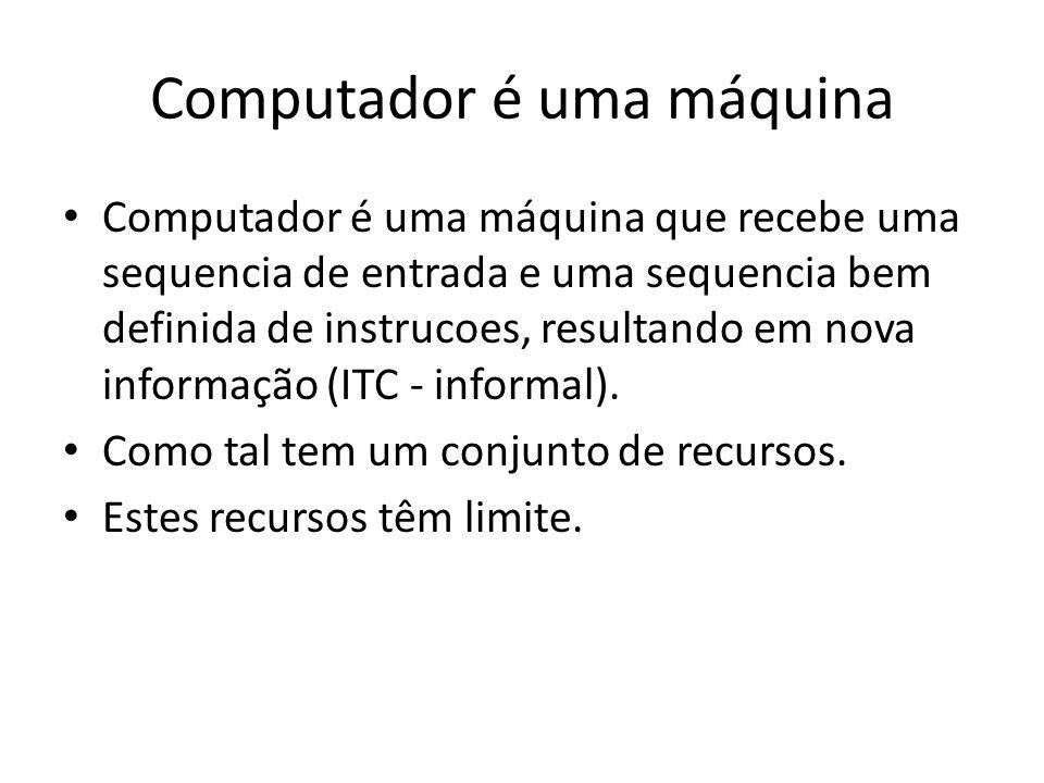 Computador é uma máquina Computador é uma máquina que recebe uma sequencia de entrada e uma sequencia bem definida de instrucoes, resultando em nova informação (ITC - informal).