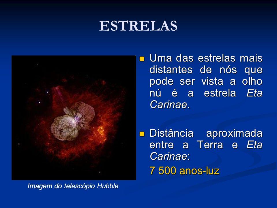 ESTRELAS Uma das estrelas mais distantes de nós que pode ser vista a olho nú é a estrela Eta Carinae. Uma das estrelas mais distantes de nós que pode