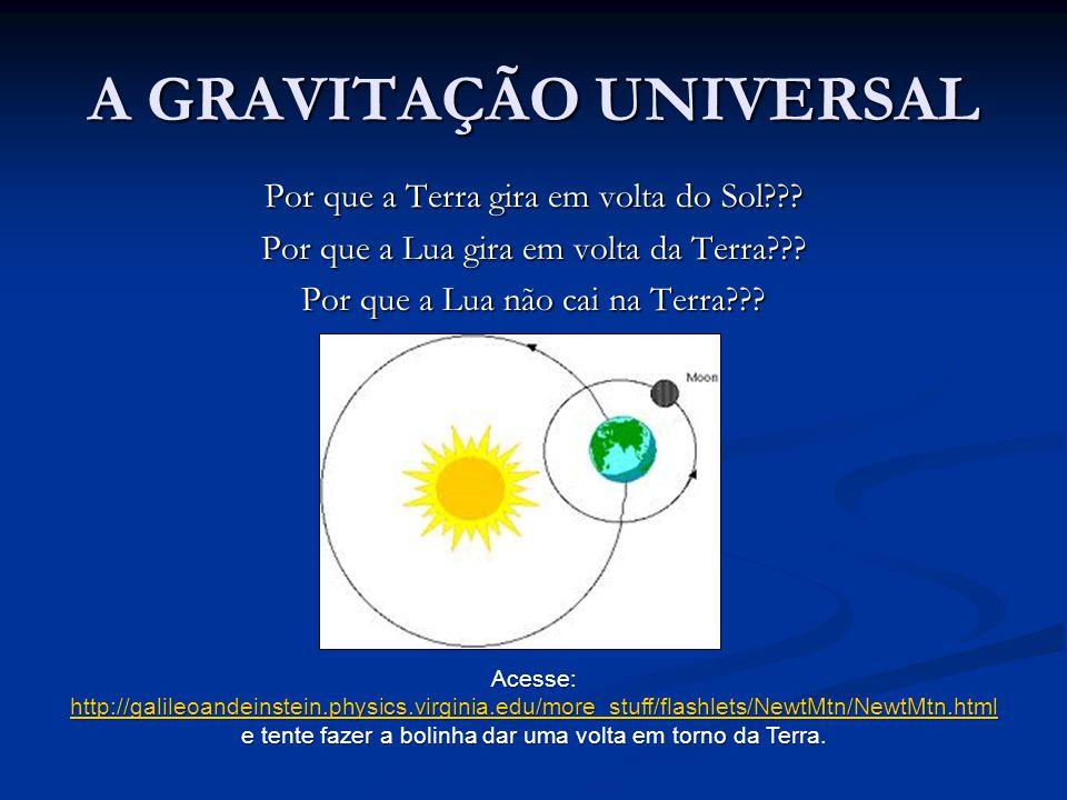A GRAVITAÇÃO UNIVERSAL Por que a Terra gira em volta do Sol??? Por que a Lua gira em volta da Terra??? Por que a Lua não cai na Terra??? Acesse: http: