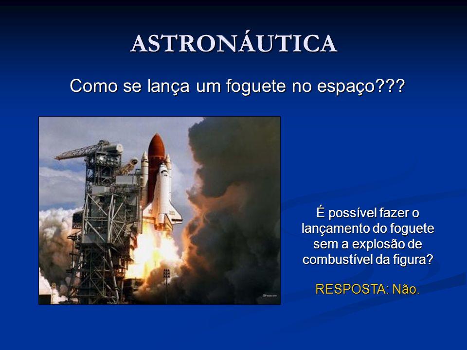 ASTRONÁUTICA Como se lança um foguete no espaço??? É possível fazer o lançamento do foguete sem a explosão de combustível da figura? RESPOSTA: Não.