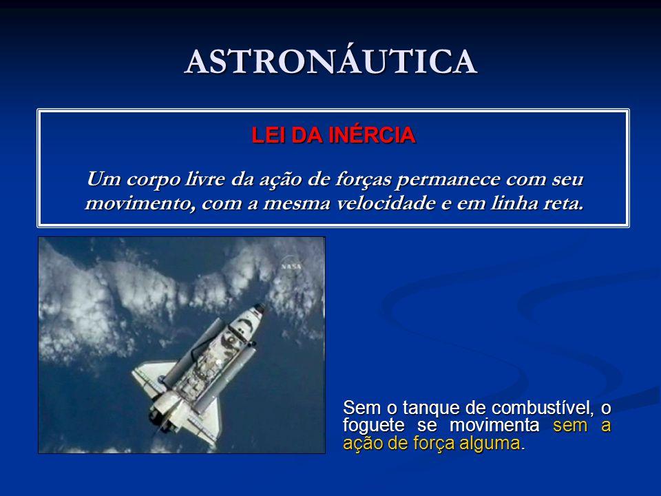 ASTRONÁUTICA Sem o tanque de combustível, o foguete se movimenta sem a ação de força alguma.